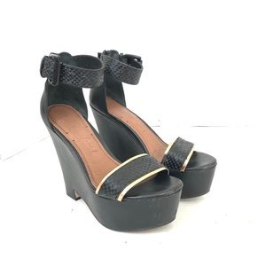Elizabeth & James Black Snakeskin Strap Wedges